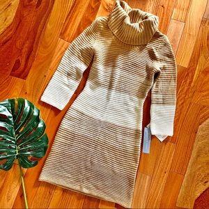London Times • Caramel Ribbed Knit Sweater Dress